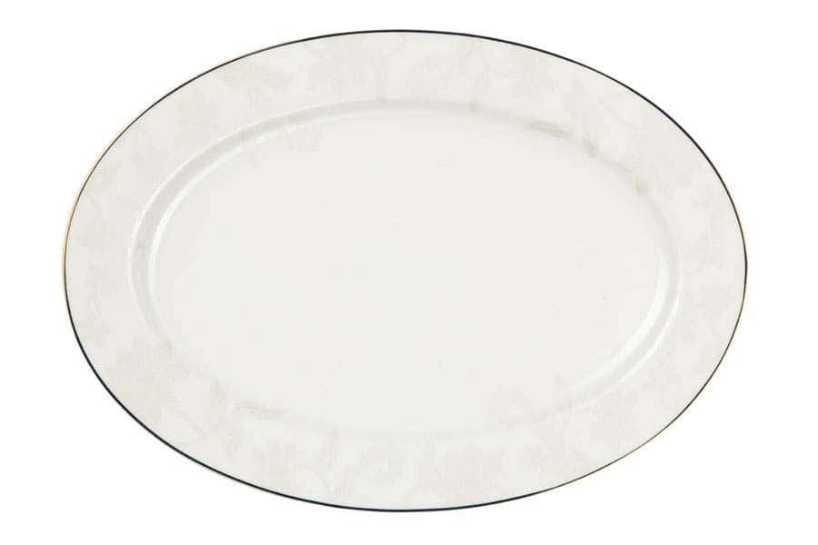 Овальное блюдо 31 см Белый лотос