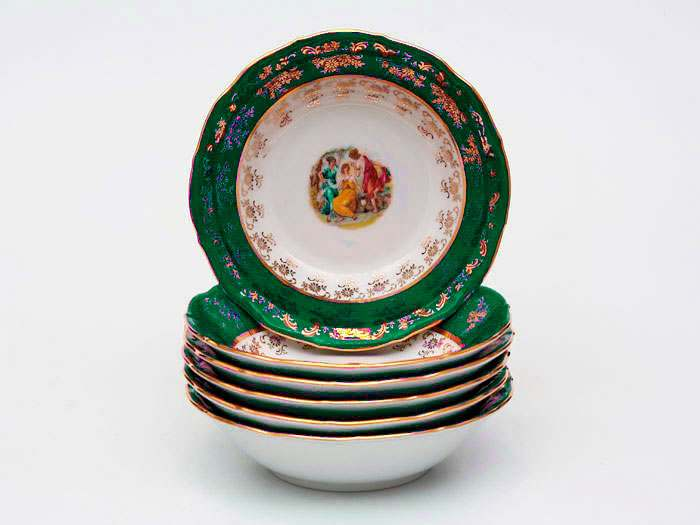 Зеленая Мадонна AL Набор салатников Royal Porcelain  19 см из 6 штук