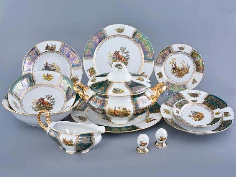 Болеро Охота Зеленая Столовый сервиз Royal Porcelain на 6 персон 28 предметов