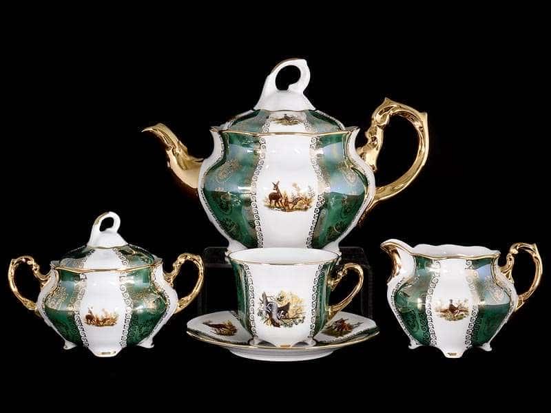 Болеро Охота Зеленая Чайный сервиз Royal Porcelain на 6 персон 17 предметов