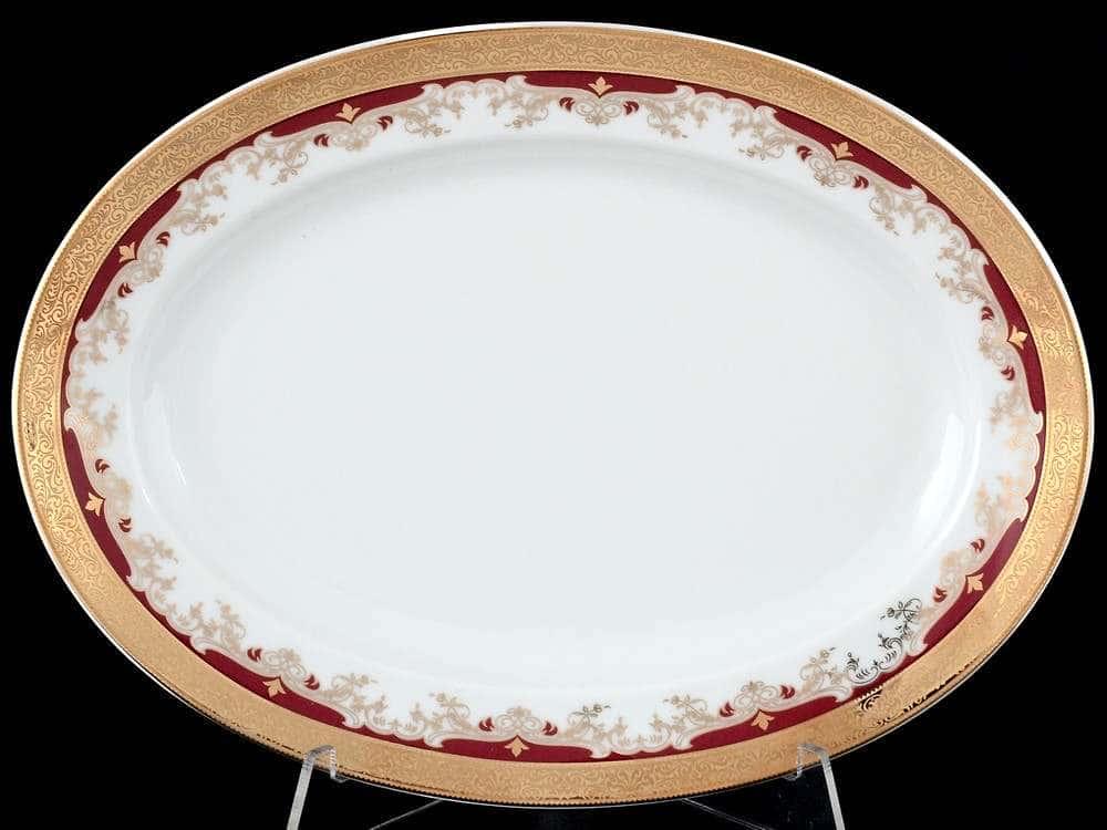 Блюдо овальное 24 см Кристина Красная Лилия