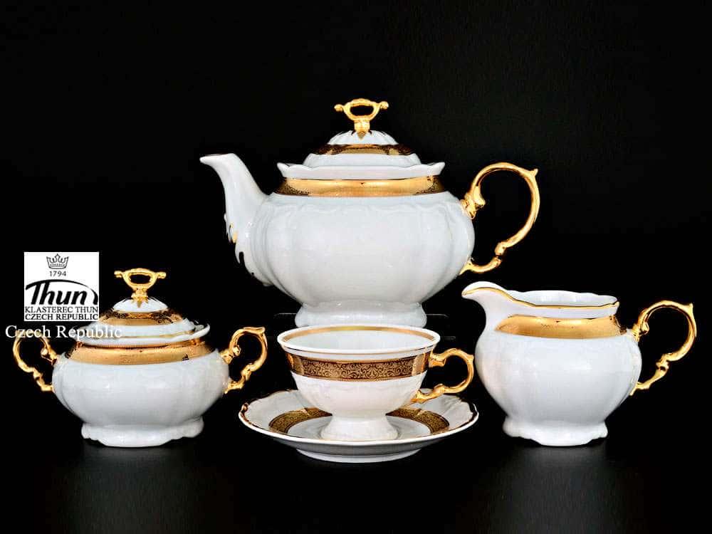 Мария Луиза Золотая лента Чайный сервиз Thun на 6 персон 17 предметов