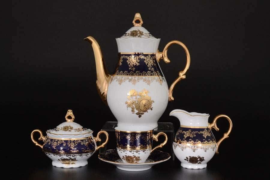 Мокко кофейный сервиз на 6 персон 17 предметов Офелия Золотая роза Кобальт Мелкий узор