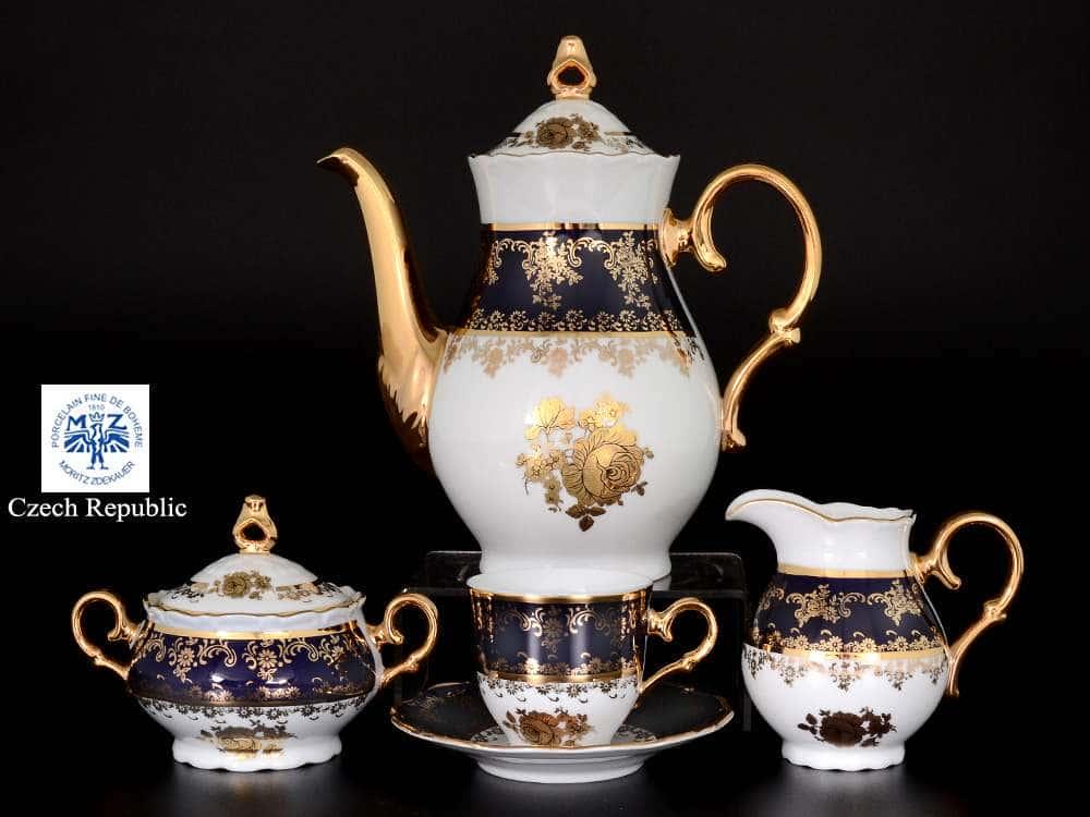 Кофейный сервиз на 6 персон 17 предметов Офелия Золотая роза Кобальт