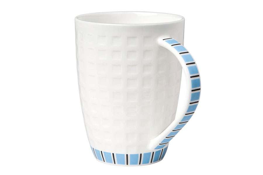 Кружка белая с голубым рисунком 330 мл Канфаэль