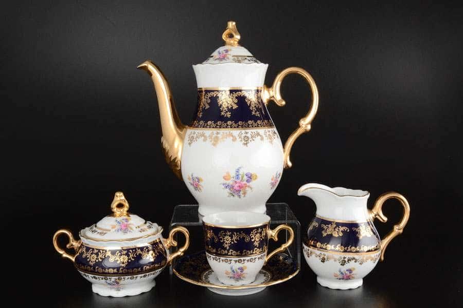 Офелия Полевой цветок Кобальт Кофейный сервиз на 6 персон 17 предметов