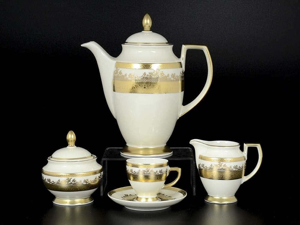 Crem Gold 9320 Кофейный сервиз на 6 персон 17 предметов Falkenporzellan
