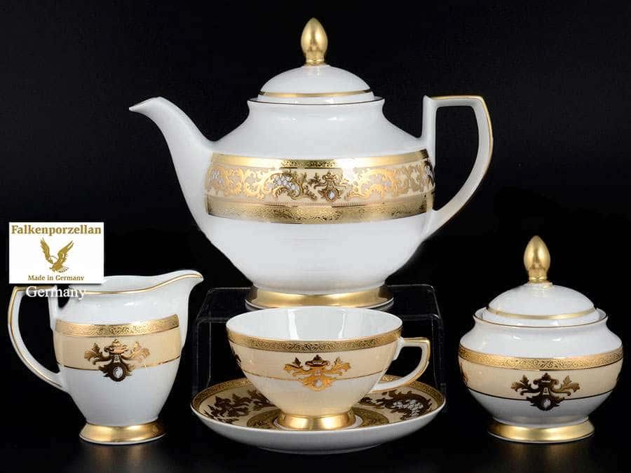 Alena 3D Crem Gold Constanza Чайный сервиз Falkenporzellan на 6 персон 17 предметов