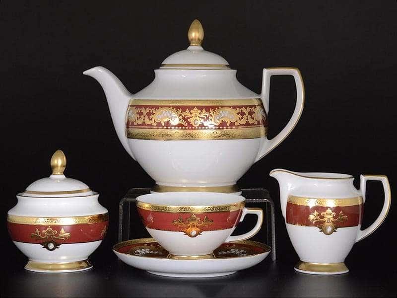 Alena 3D Bordeaux Gold Constanza Чайный сервиз Falkenporzellan на 6 персон 17 предметов