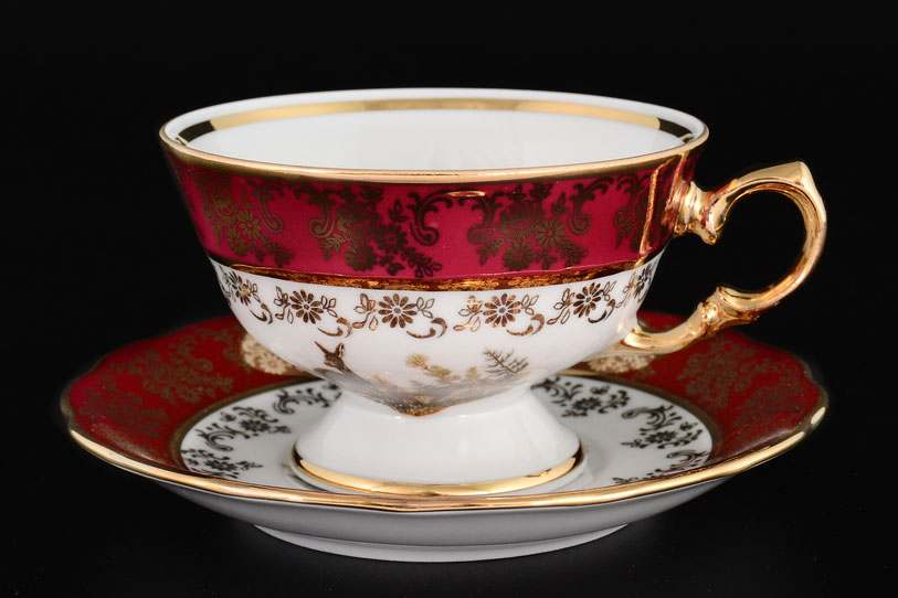 Царская Красная Охота Набор чайных пар Royal Czech Porcelain