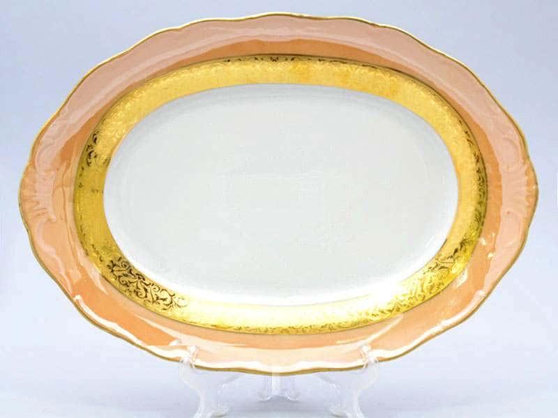 Магнолия Золотая полоса Янтарь Блюдо овальное 36 см MZ