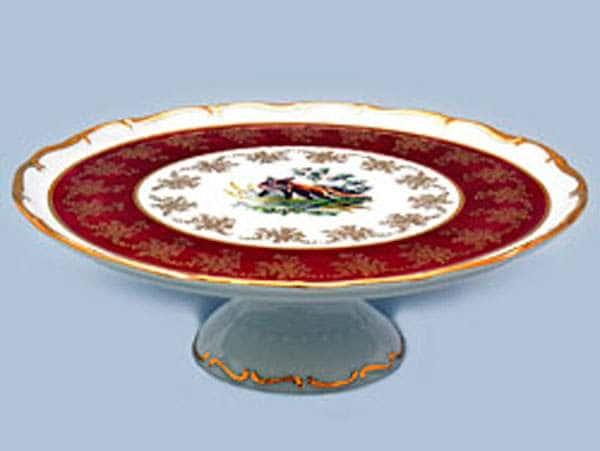 Магнолия Охота Красная Тарелка для торта на ножке MZ 30 см