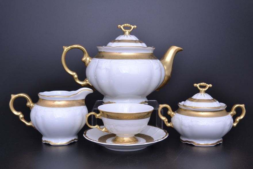 Мария Луиза Матовая полоса Чайный сервиз Carlsbad на 6 персон 17 предметов