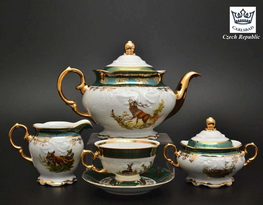 Фредерика Охота Зеленая Чайный сервиз Carlsbad на 6 персон 17 предметов