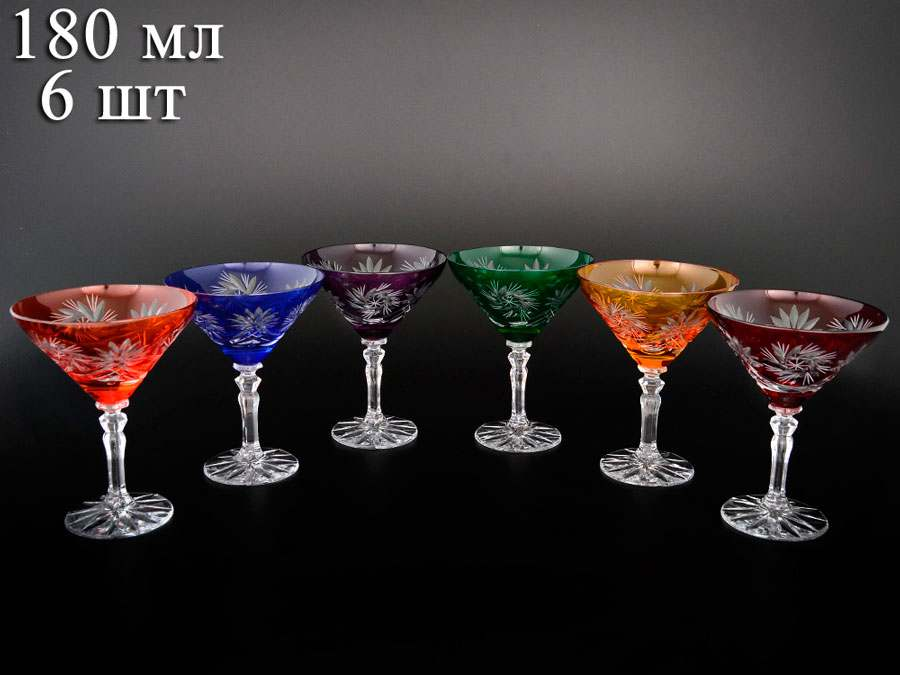 Цветной хрусталь  Набор бокалов для мартини 180 мл  Bohemia Crystal