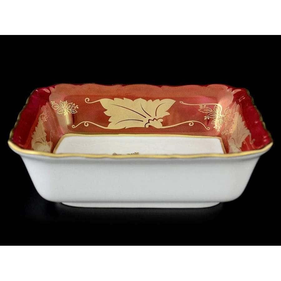 Мария Луиза Кленовый лист Красный Салатник квадратный Carlsbad 16 см