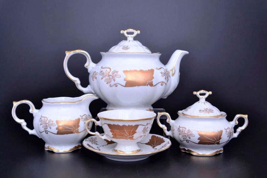 Мария Луиза Кленовый лист Белый Чайный сервиз Carlsbad на 6 персон 17 предметов