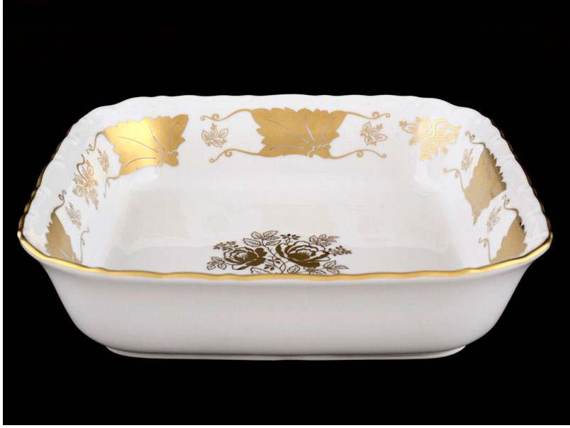 Мария Луиза Кленовый лист Белый Салатник квадратный Carlsbad 23 см