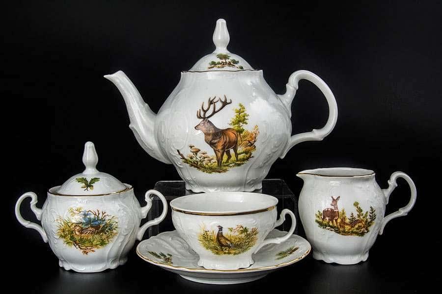 Бернадотт Охота Чайный сервиз на 6 персон 17 предметов