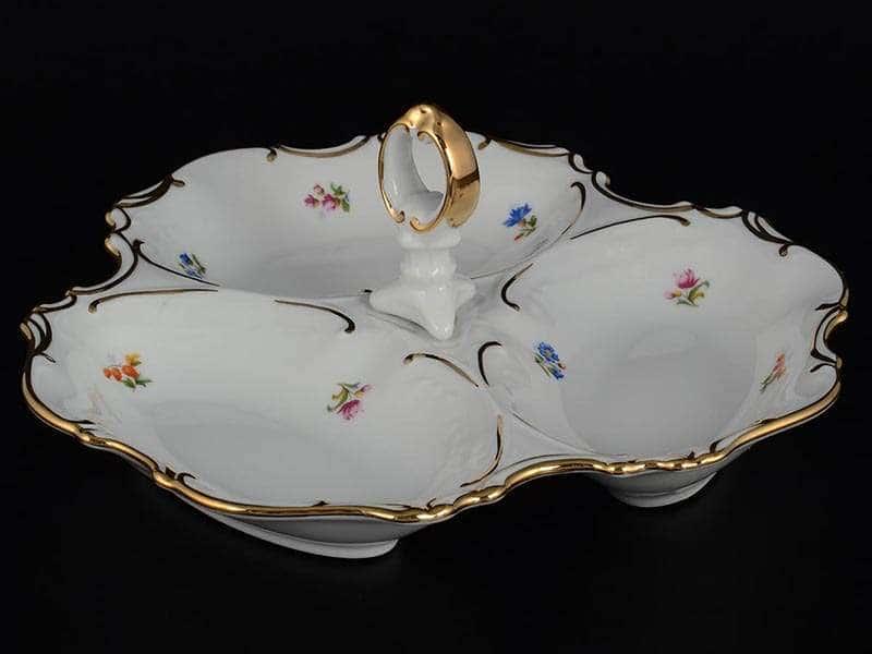 Офелия Мелкие цветы отводка золото Менажница 24 см MZ