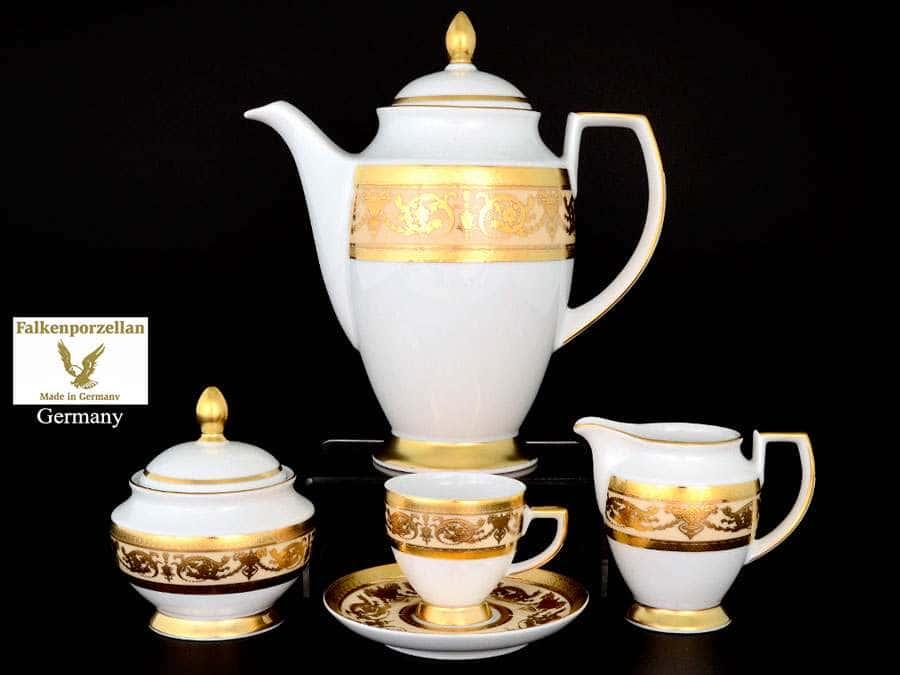 Imperial Crem Gold Кофейный сервиз на 6 персон 17 предметов Falkenporzellan