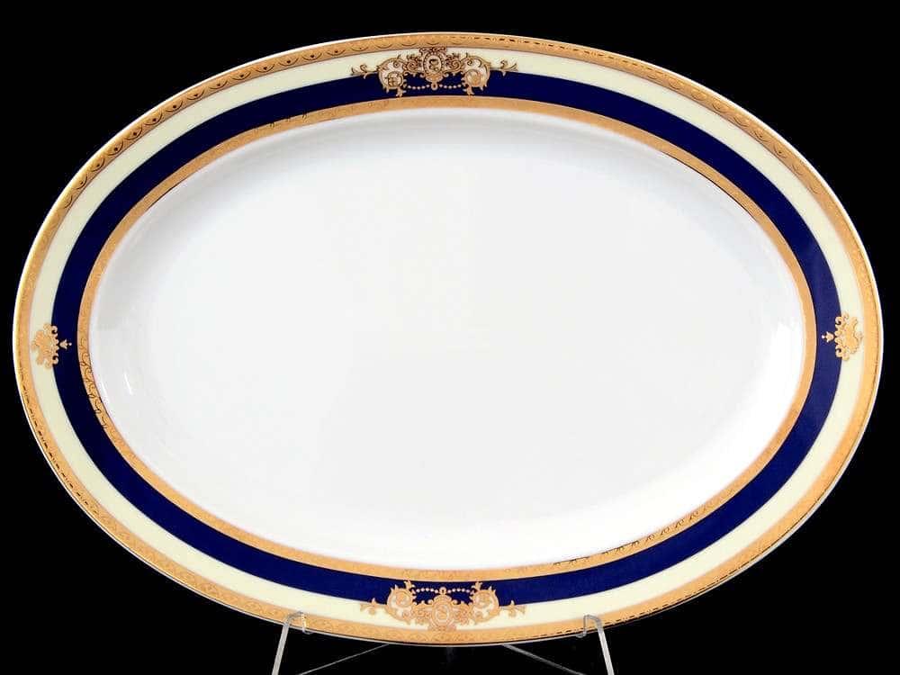 Яна Кобальтовая лента Блюдо овальное 32 см Thun