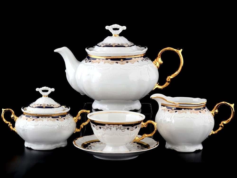 Мария Луиза Синяя лилия Чайный сервиз Thun на 6 персон 17 предметов