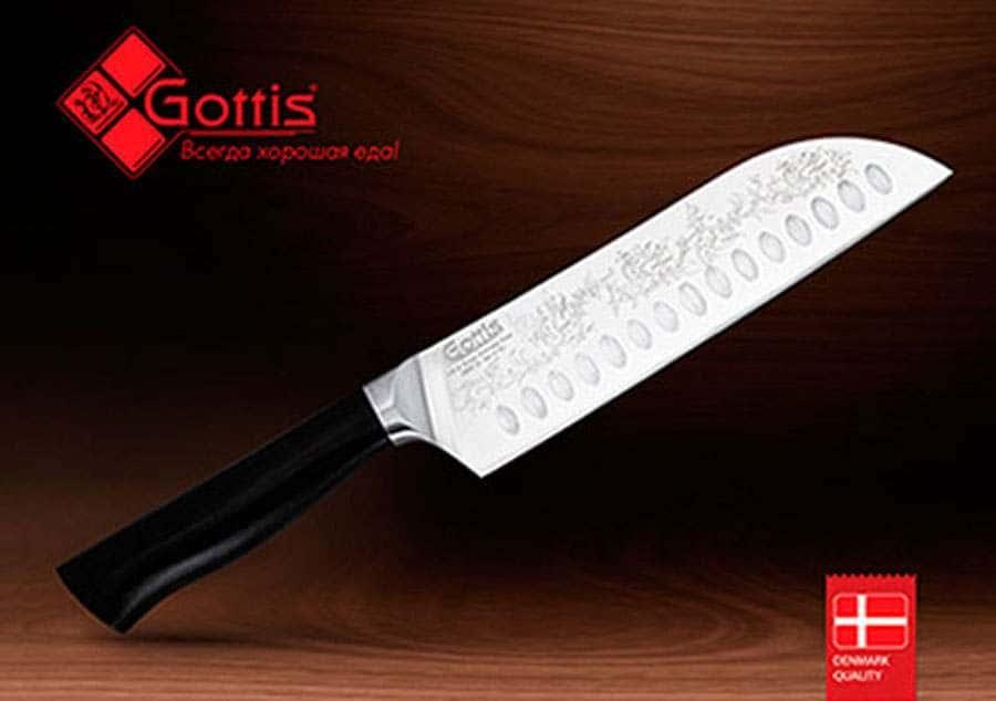 Нож  Сантоку кованый из немецкой стали Готтис