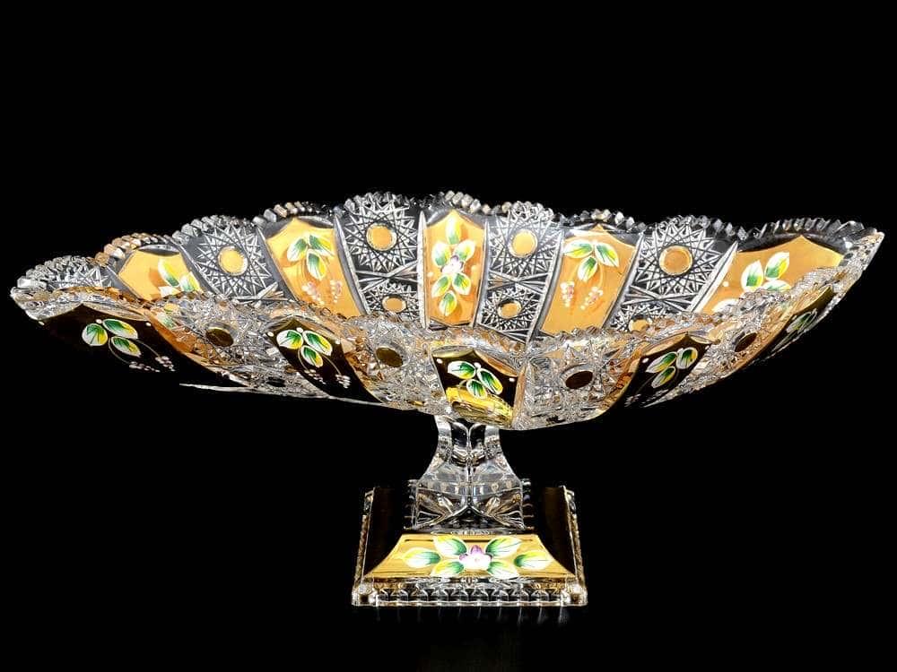 Max Crystal Золото Фруктовница 45 см на ножке Bohemia