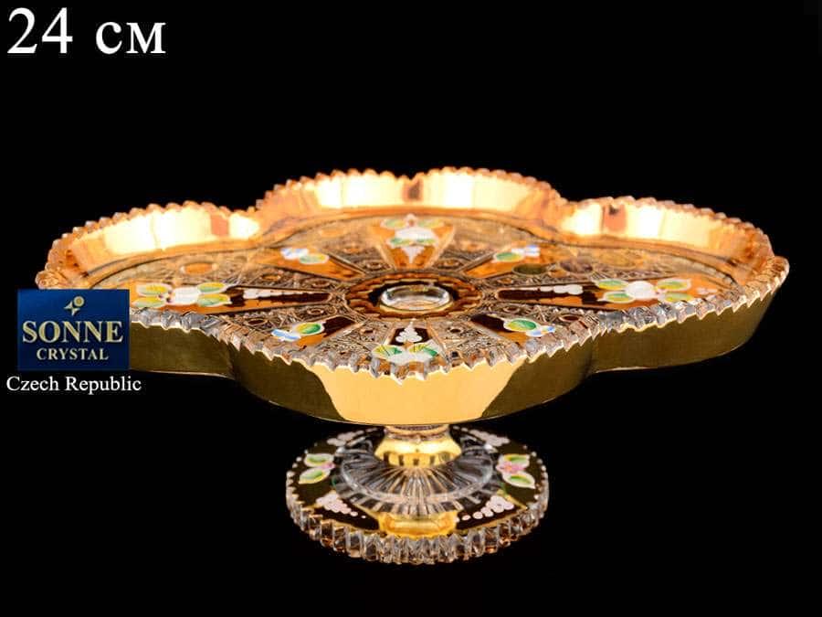 Sonne Crystal Золото Рулетница 24 см из хрусталя на ножке