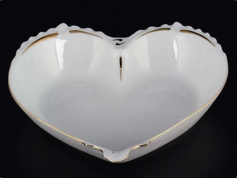 Золотая полоса Корона Конфетница сердце 22 см QC