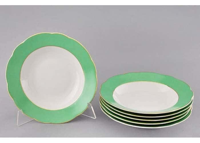Мэри-Энн, Зеленые листья, Тарелка глубокая 23 см, Леандер