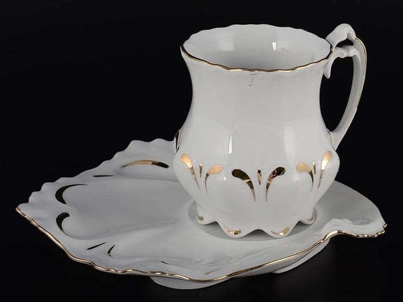 Золотая полоса Корона Чайная пара из фарфора Queens Crown