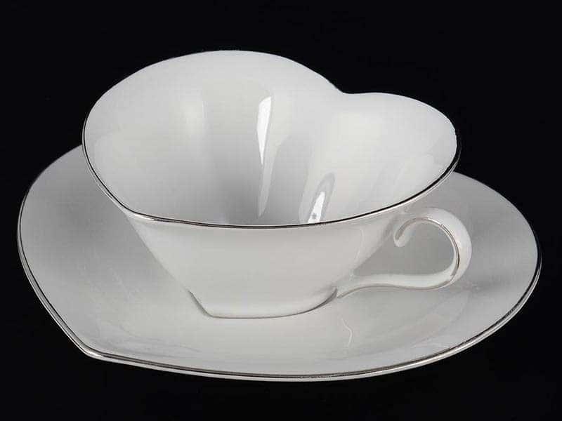 Платиновый узор Корона Чайная пара сердце QC 150 мл