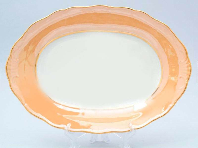 Магнолия Бежевый мрамор Блюдо овальное MZ 36 см