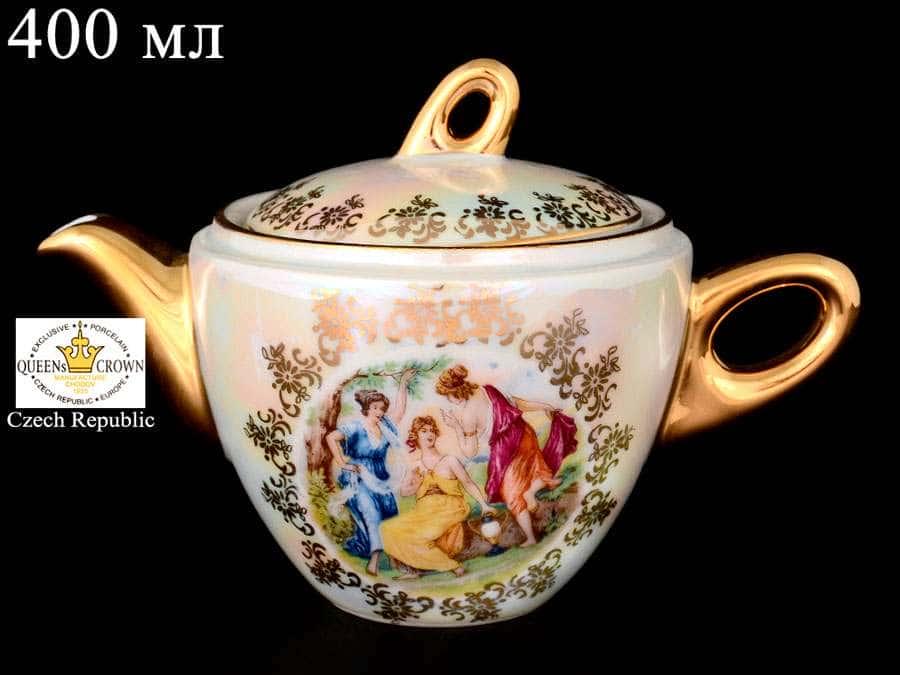 Мадонна перламутр 0001 Чайник QC 400 мл из фарфора