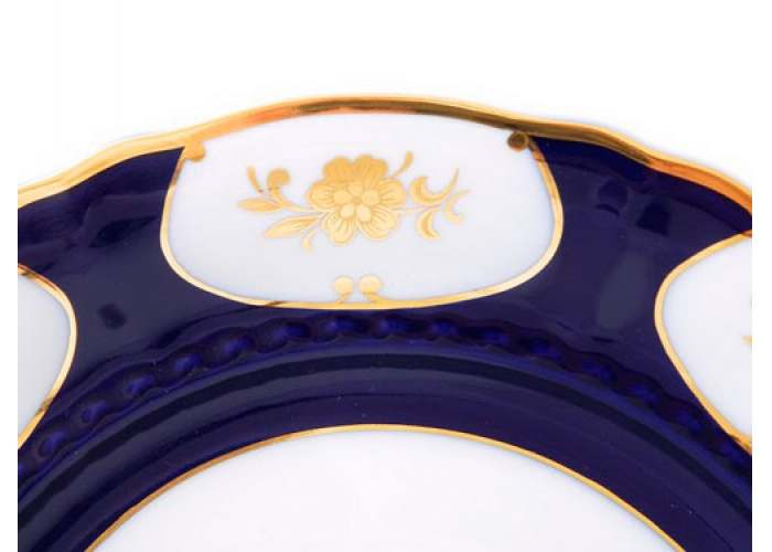 Соната, Золотой цветок, Кобальт, Тарелка для торта, 26 см