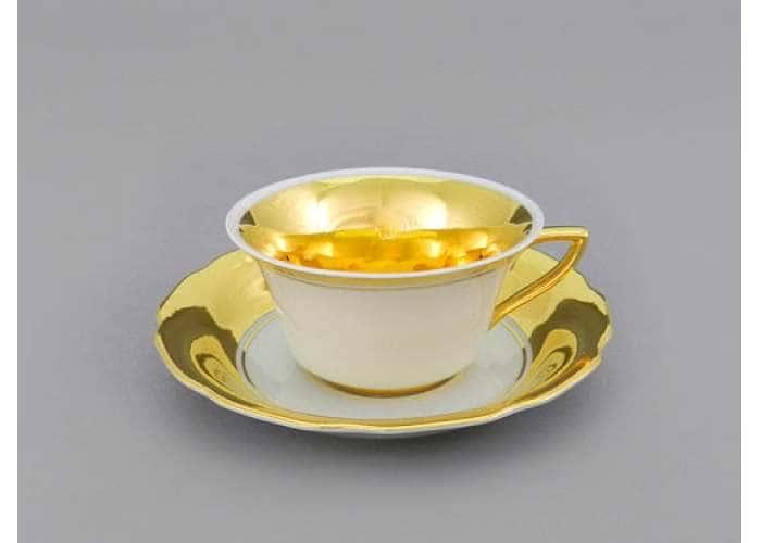 Виндзор, Белая, Матовое золото, Чашка низкая с блюдцем 0,15 л