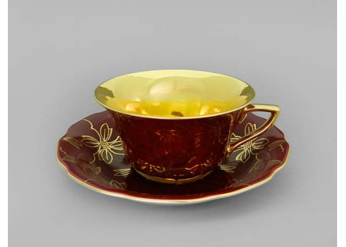 Виндзор Золотые листья бордовый, Чайная пара низкая 0,15 л