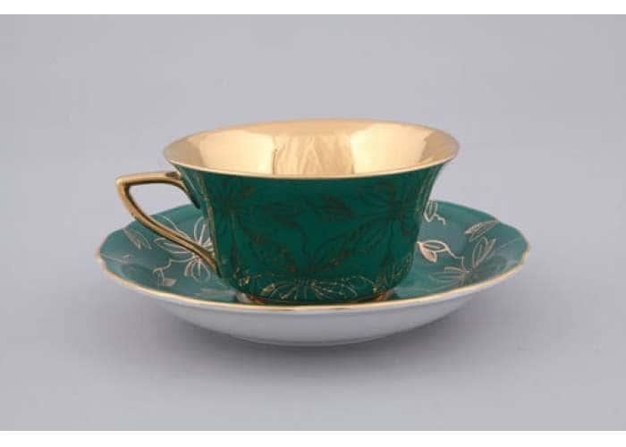 Виндзор Золотые листья, Малахит, Чашка низкая  0,15 л