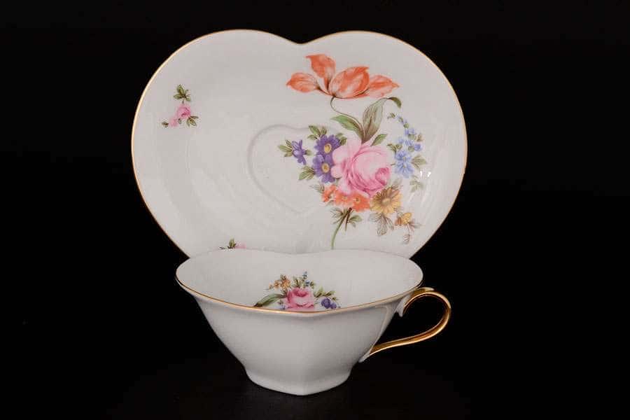 Полевой цветок Чайная пара Сердце QC 150 мл
