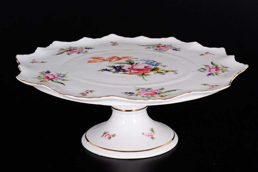 Полевой цветок Корона Тарелка для торта на ножке QC