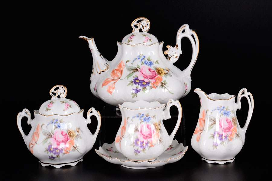 Корона Полевой цветок Чайный сервиз QC на 6 персон 15 предметов