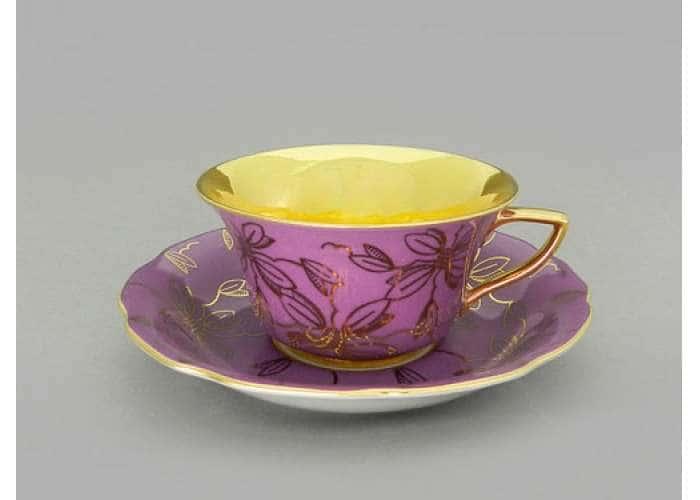 Виндзор Золотые листья сиреневый, Чашка низкая с блюдцем 0,15 л