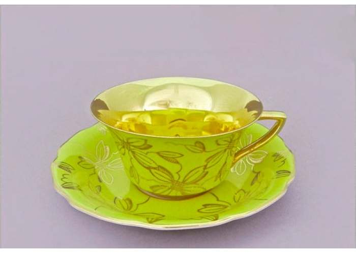 Виндзор Золотые листья салатовый, Чашка низкая с блюдцем 0,15 л