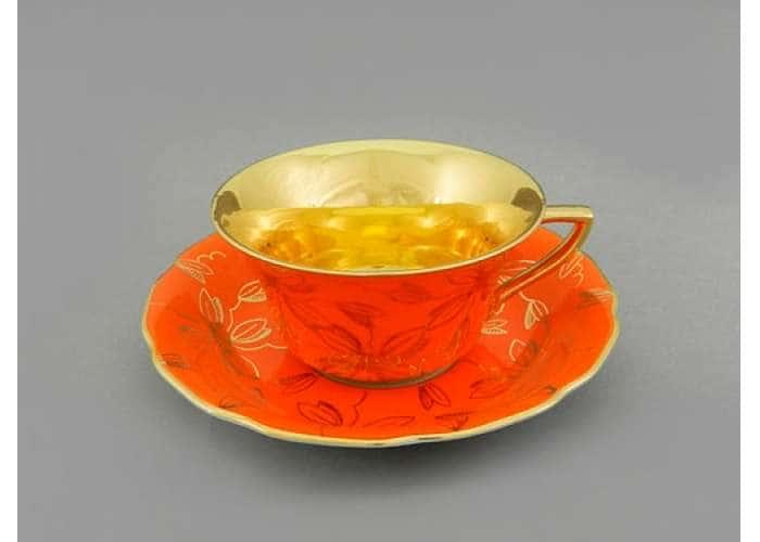 Виндзор Золотые листья оранжевый, Чашка низкая с блюдцем 0,15 л