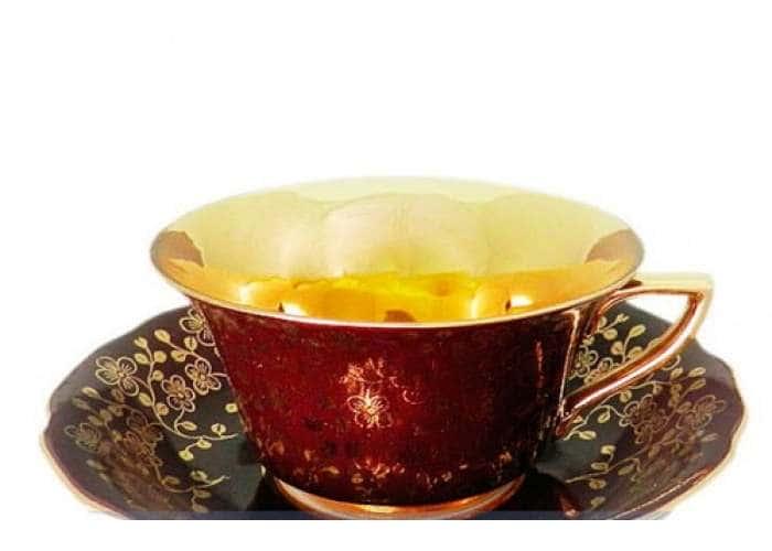 Виндзор Золотые цветы бордовый, Чашка низкая с блюдцем 0,15 л