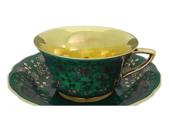 Виндзор Золотые цветы зеленый, Чашка низкая с блюдцем 0,15 л