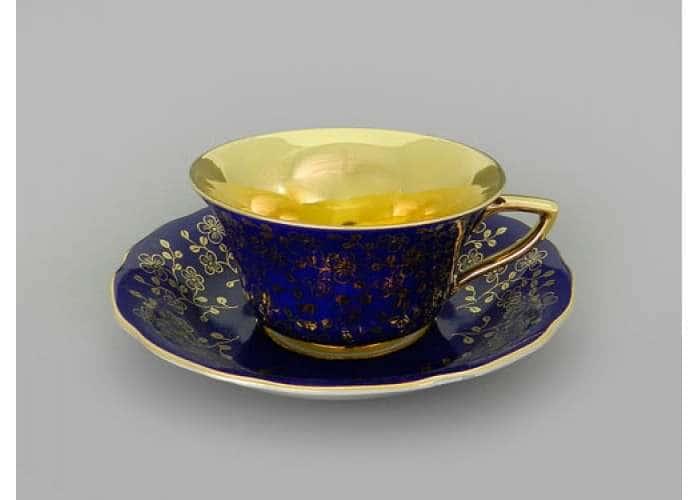 Виндзор Золотые цветы темно-синий, Чашка низкая с блюдцем 0,15 л