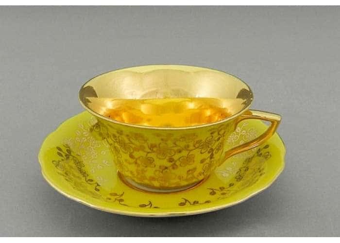Виндзор Золотые цветы желтый, Чашка низкая с блюдцем 0,15 л